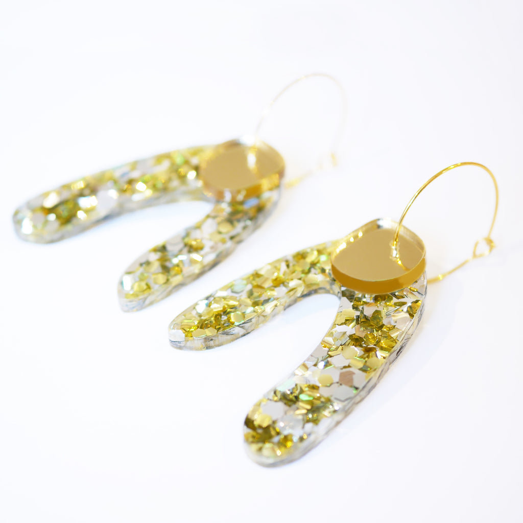 Super Sparkle Arch Earrings – Chunky Silver Gold