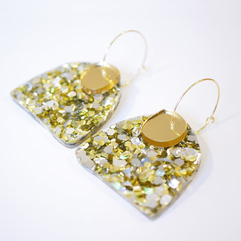 Super Sparkle Curve Earrings – Chunky Silver Gold