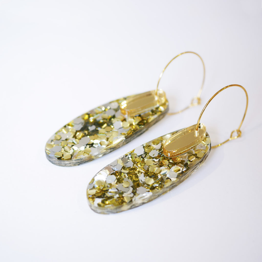 Super Sparkle Oval Earrings – Chunky Silver Gold