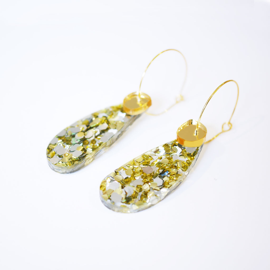 Super Sparkle Teardrop Earrings – Chunky Silver Gold