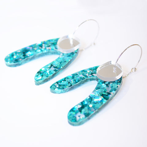Super Sparkle Arch Earrings – Chunky Teal