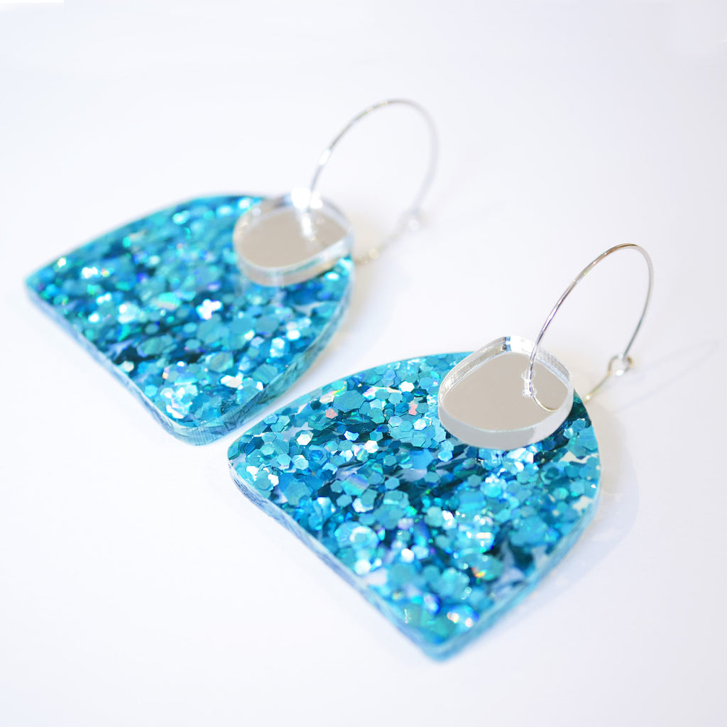Super Sparkle Curve Earrings – Chunky Aqua Blue