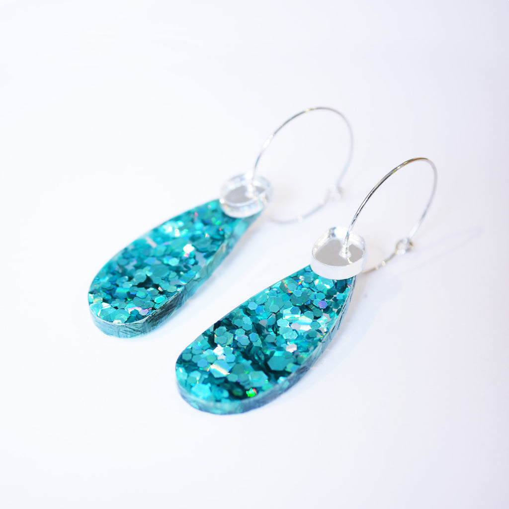 Super Sparkle Teardrop Earrings – Chunky Teal