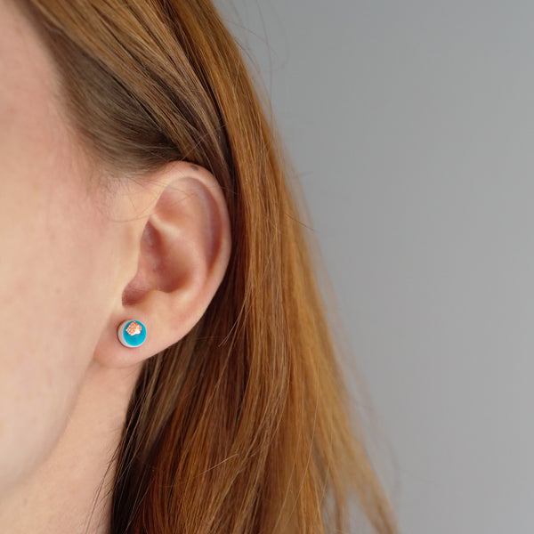 Scatter Dot Mini Earrings – Turquoise