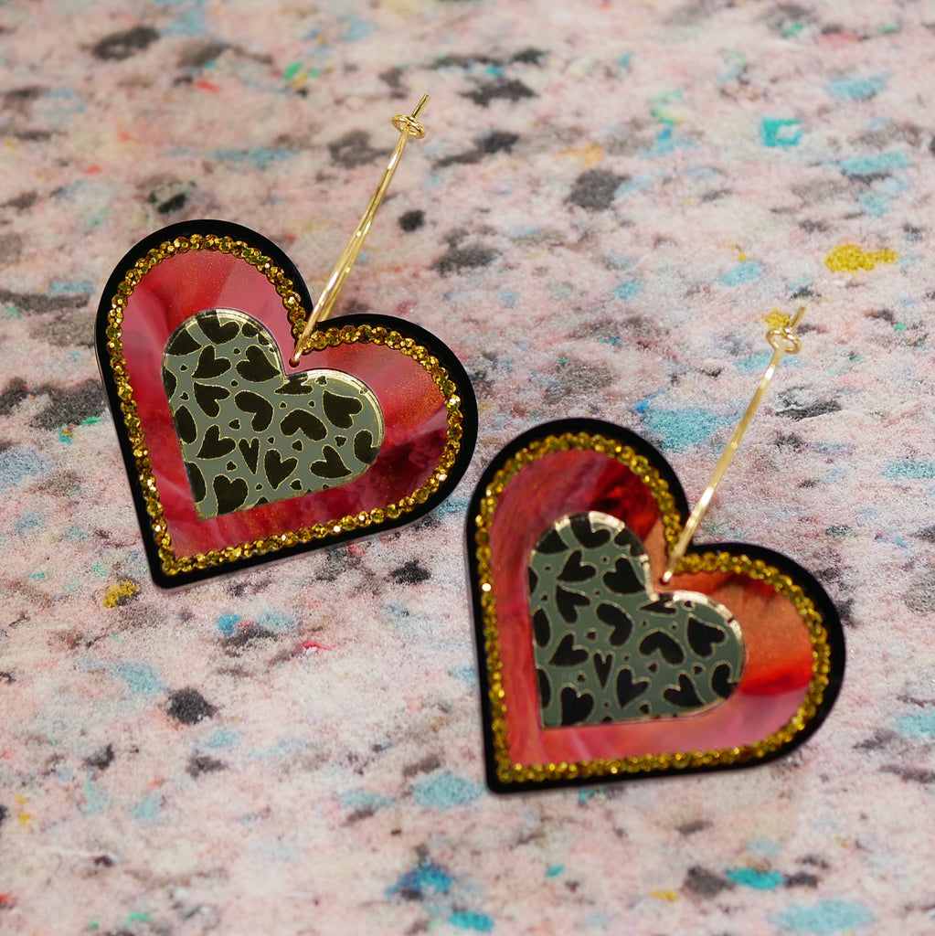 Mega Heart Earrings – Red/Gold