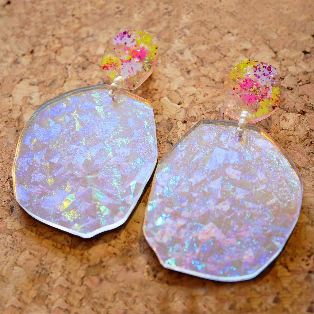 Holo-Magic Mega Mega Mega Nugget Statement Earrings