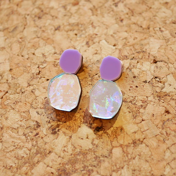 Holo-Magic Tiny Drop Earrings – Pastel Lilac