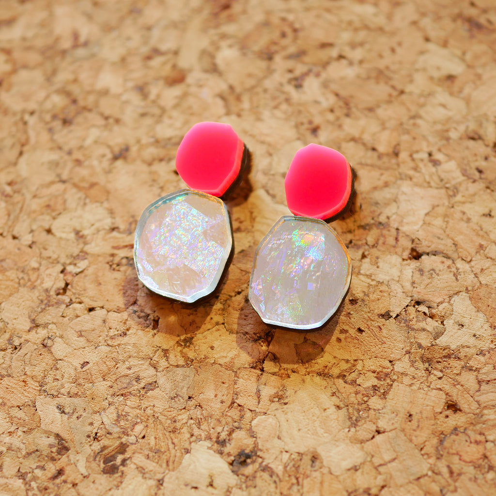 Holo-Magic Tiny Drop Earrings – Neon Pink