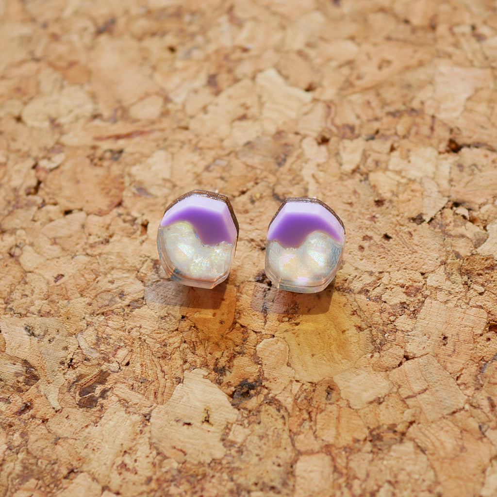 Holo-Magic Tiny Stud Earrings – Pastel Lilac