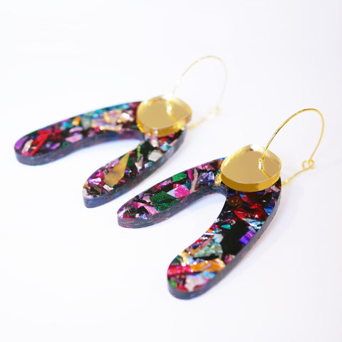 PRE-ORDER ONLY Super Sparkle Arch Earrings – Kaleidoscope