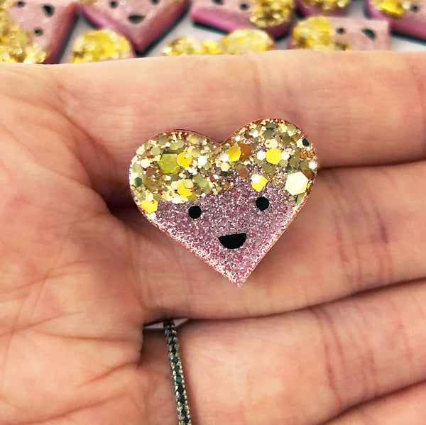 Limited Edition Super Sparkle Happy Heart Dude Pin Badge