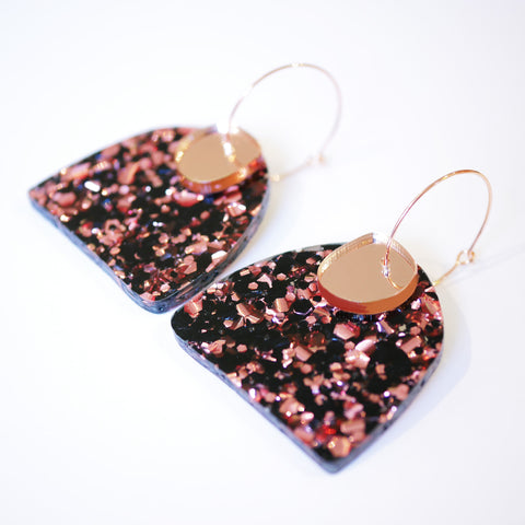 Super Sparkle Curve Earrings – Chunky Rose Gold