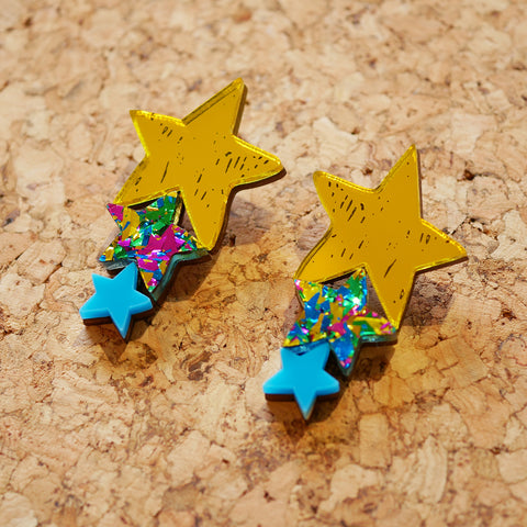 Superstar Triple Sparkle Drop Earrings – Yellow & Turquoise