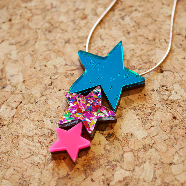 Superstar Triple Sparkle Drop Necklace – Teal & Neon Pink
