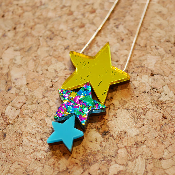 Superstar Triple Sparkle Drop Necklace – Yellow & Turquoise