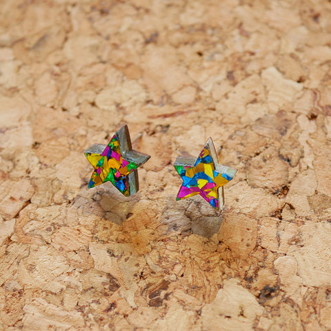 Superstar Tiny Stud Earrings Earrings – Yellow & Turquoise