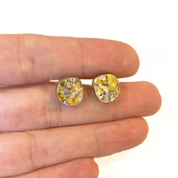 Teeny Weeny In-betweeny Off-Cut Studs – Chunky Silver Gold