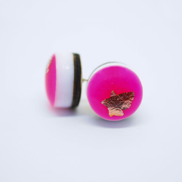 SYNTH Dot Earrings/Neon Pink