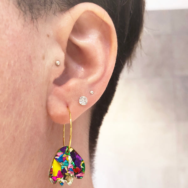 Mega Sparkle Abstract Hoop Earrings