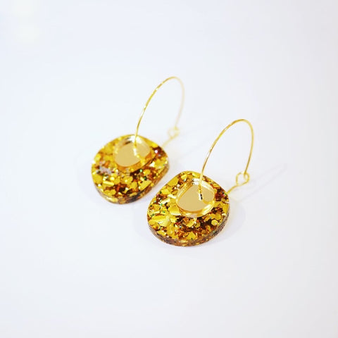 Super Sparkle Nugget Earrings – Chunky Gold Rainbow