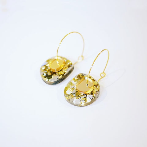 Super Sparkle Nugget Earrings – Chunky Silver Gold