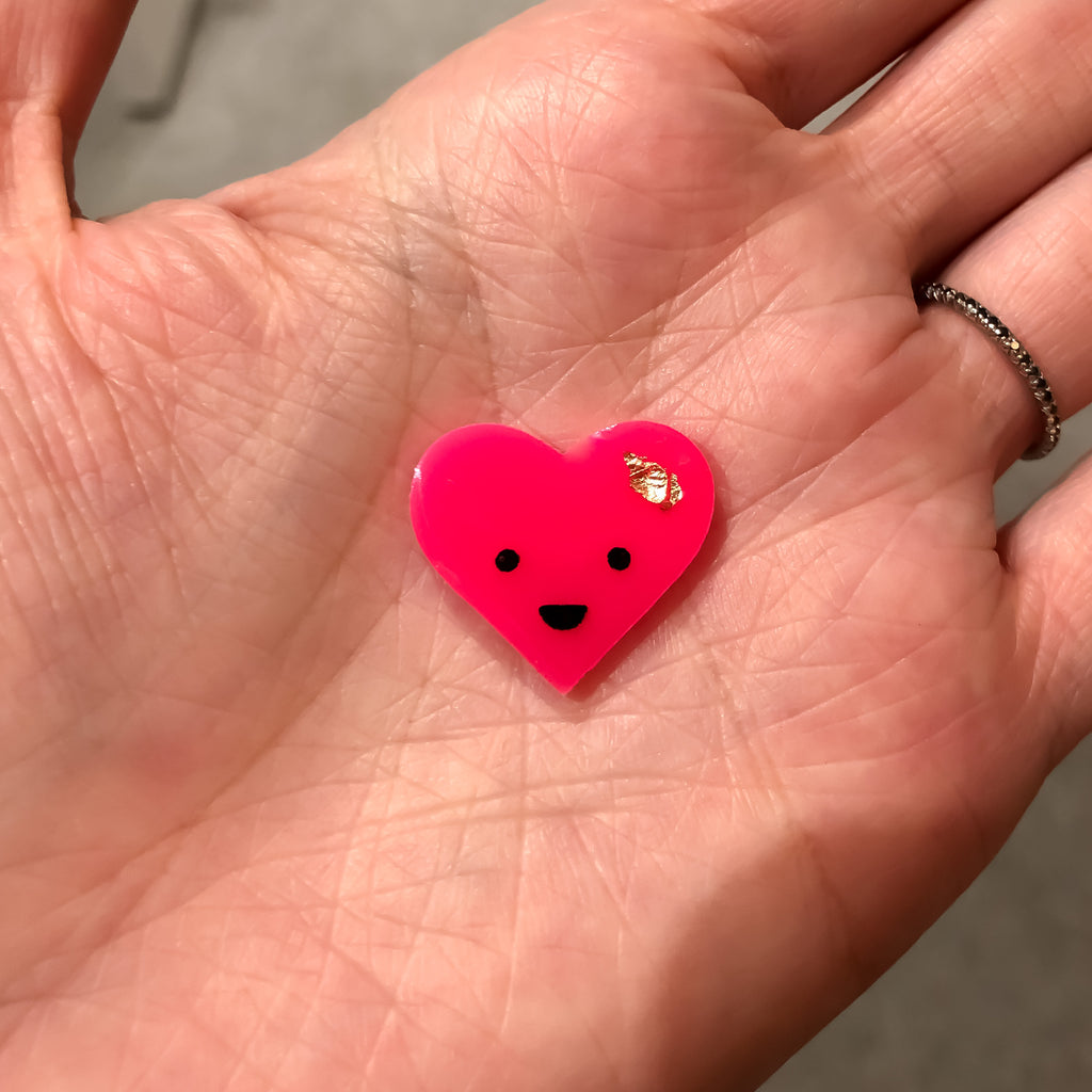 Limited Edition Neon Pink Happy Heart Dude Pin Badge