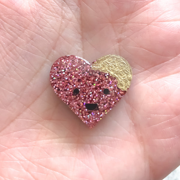 Super Glitter Sparkle Happy Heart Pin Badge