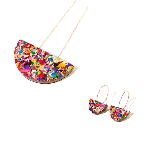 Crackle Sparkle Mini Curve Necklace & Earring Set