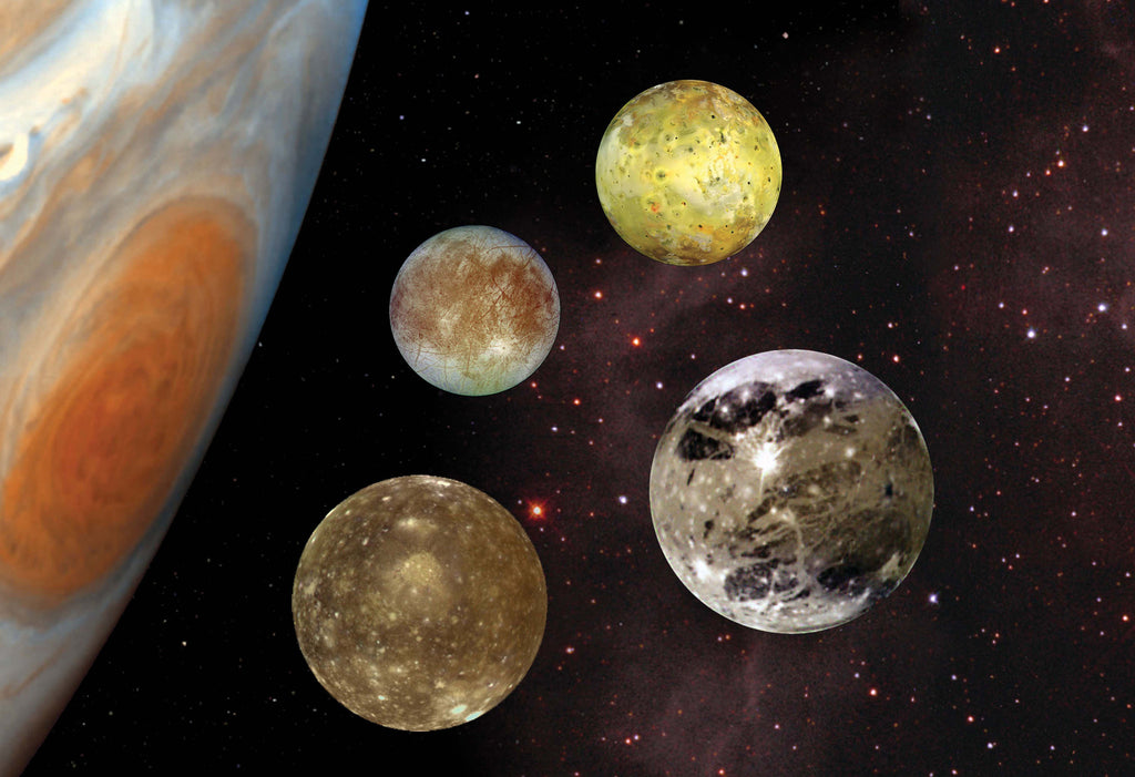 Jupiter's Galilean Moons Hi Gloss Space Poster