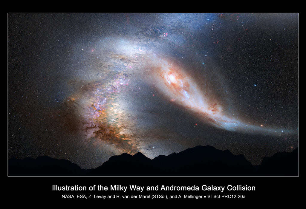 Milky Way Andromeda Galaxy Collision Hi Gloss Space Poster
