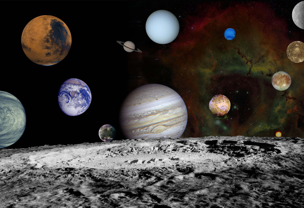 NASA Moon and Planets Space Hi Gloss Poster
