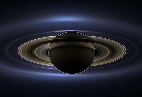 Saturn and Earth Cassini Fine Art Print