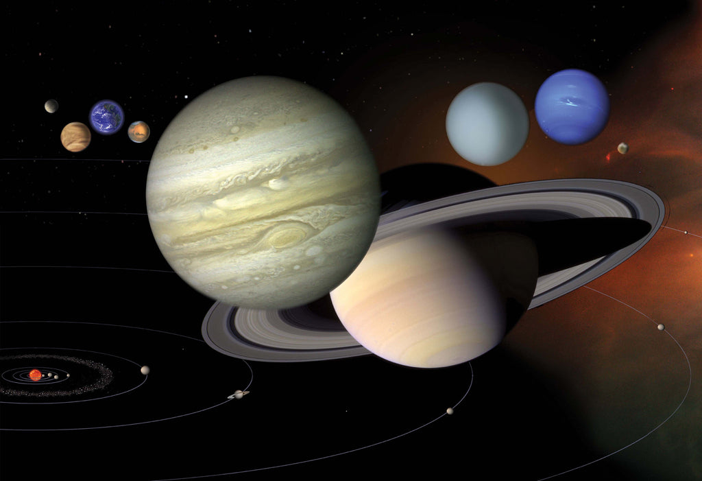 Saturn and the Solar System Hi Gloss Space Poster