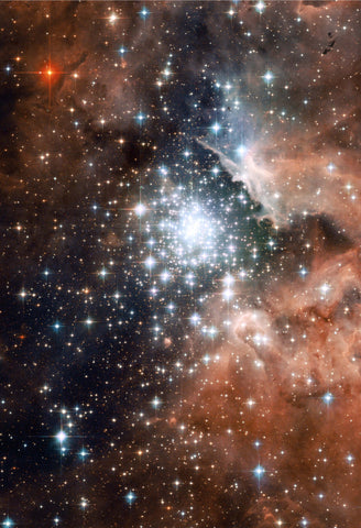 Star Cluster Bursts into Life Hubble Fine Art Print