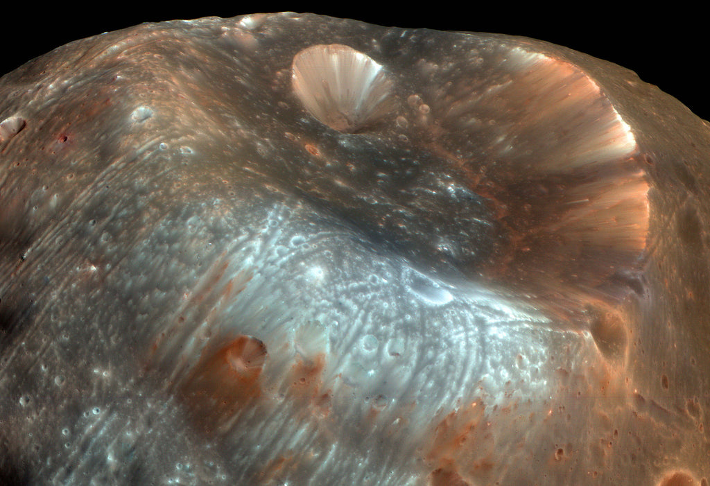 Stickney Crater on Phobos Hi Gloss Space Poster