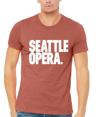 "<font color= ""blue""> -New- </font> Seattle Opera Logo Unisex T-Shirt (Clay & Grey)"