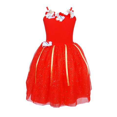 Red & White Petal Dresses