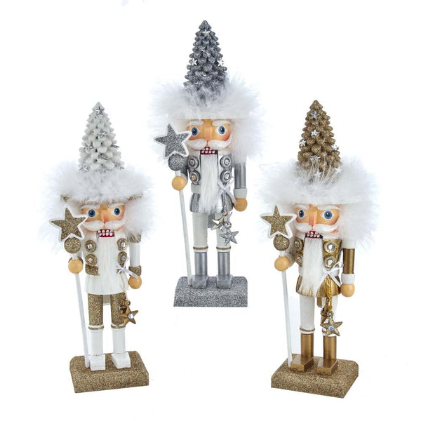 White Gold Silver Tree Hat Nutcrackers