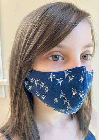Blue Ballerina Cotton Face Masks