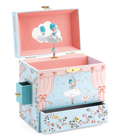 Blue Cloud Ballerina Musical Jewelry Box