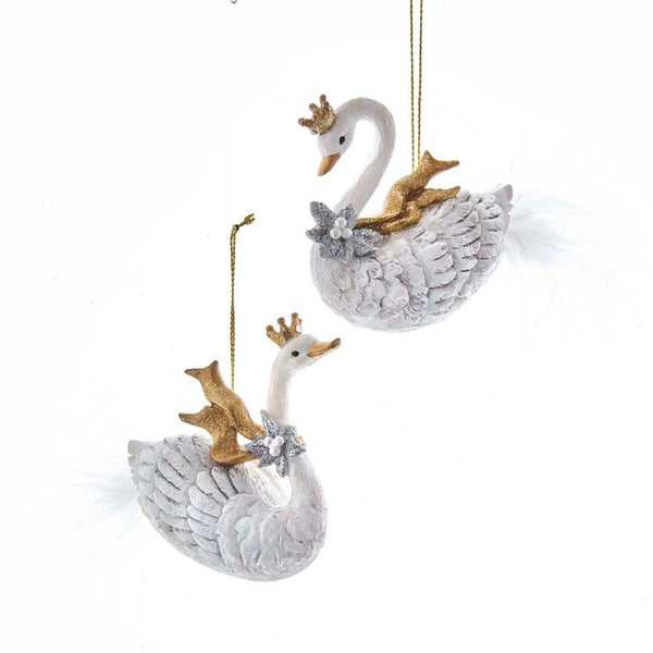 Silver & Gold Swan Ornaments