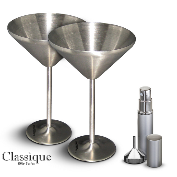Martini Glasses Double Walled Stainless Steel Freezer Gel - Drinks Stay Cold Up To 4 Hrs