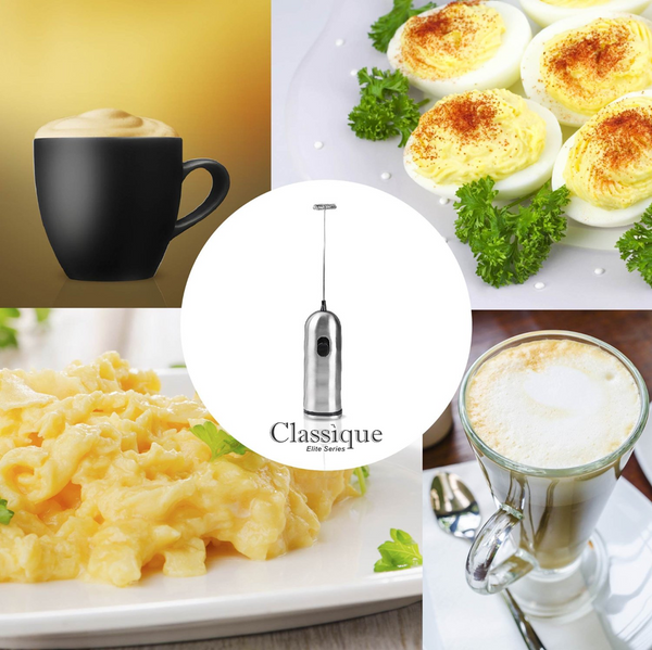 Electric Milk Frother and Whisk with Coffee Spoon/Clip