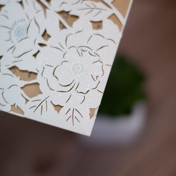 Poppy Laser Cut Pocket Invite