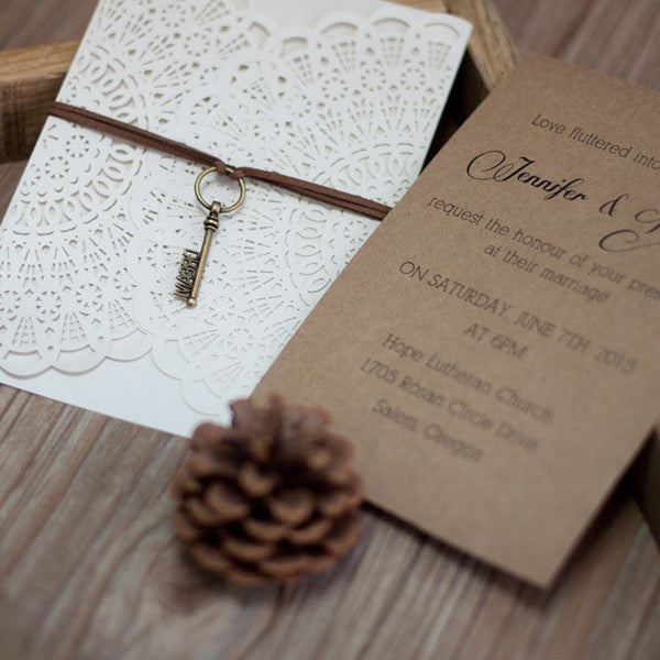 Key to my heart laser cut pocket invite roseymae wedding paper design key to my heart laser cut pocket invite stopboris Choice Image