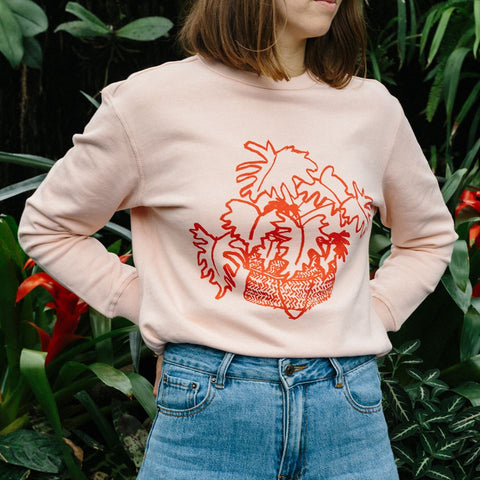 Forest Drawn hand screen printed sweatshirt