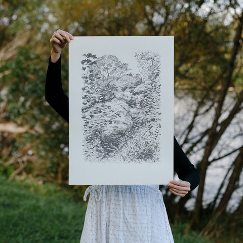 Central Park screen print by Hannah Webster of Forest Drawn.