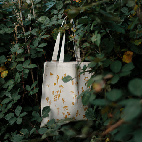Forest Drawn tote bag in mustard