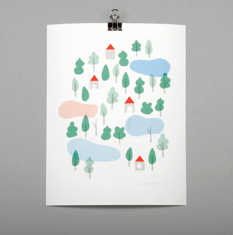 Trees and lake print by Amy Van Luijk