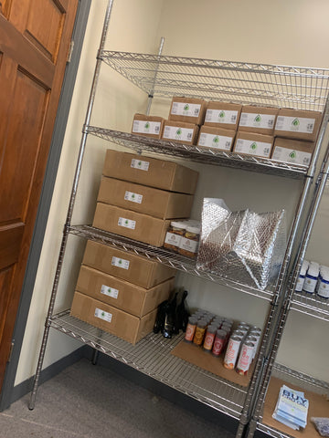 Stock room with shelves and product